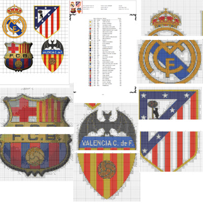 Esquemas de escudos de equipos de fútbol en punto de cruz